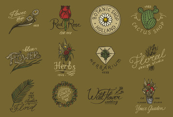 Flower shop emblems and logo. Vintage bouquet. Gardening signs and retro label. Hand drawn badges. Floral templates.