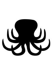 silhouette oktopus krake kopffüßer kalmar tentakel tintenfisch unterwasser monster comic cartoon clipart lustig design meer wasser tauchen fisch