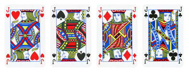 Four Jacks Playing Cards - isolated on white