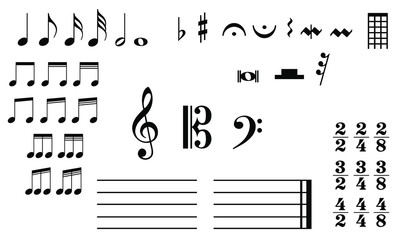 Musical symbols treble clef notes