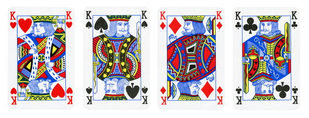 Four Kings Playing Cards - isolated on white
