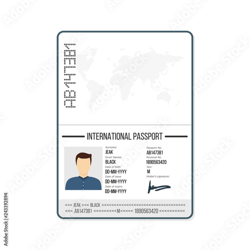 International male passport template with photo  Vector
