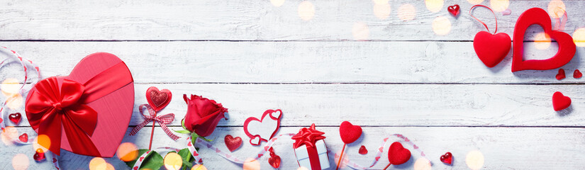 Valentines Day Decoration With Gift On White Wooden Plank