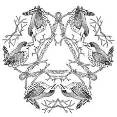 Wren birds on triangle viking mandala black and white vector illustration engraving