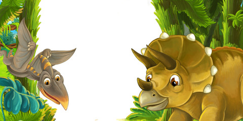 cartoon scene with dinosaur triceratops and flying dinosaur - frame for different usage - illustration for children