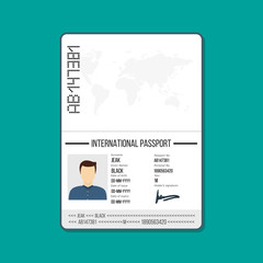 Cartoon ID card or Car driver license. Male passport template Vector illustration in flat style.