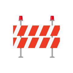 Road closed street barrier on road icon. Vector