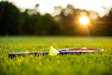 Federball und Schläger im Gras