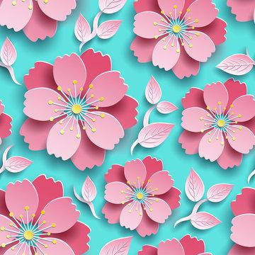 Beautiful bright seamless pattern with sakura