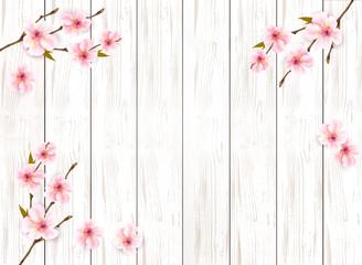 Fototapete - Sakura japan cherry branch on wooden background. Vector