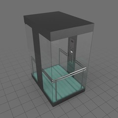 Glass elevator with door closed