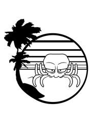 insel urlaub ferien palmen sonne böser oktopus krake kopffüßer kalmar tentakel tintenfisch unterwasser monster comic cartoon clipart lustig design meer wasser tauchen fisch