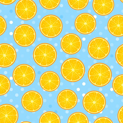 Citrus round piece. Lemon and orange Seamless pattern. Vector illustration on blue polka dot textured