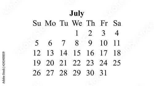 July 2020  Calendar 2020 vector  Simple design minimal 2020