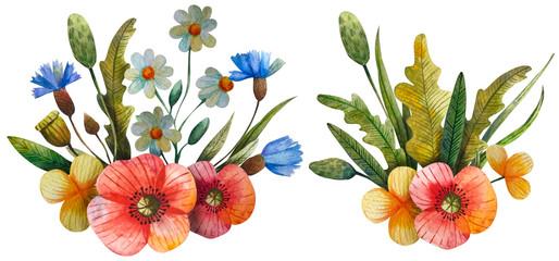 watercolor flower composition