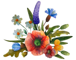 watercolor flower composition