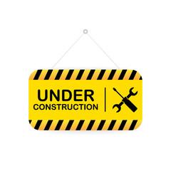 Under construction sign. Vector illustration for website.