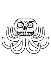 halloween horror gruselig böser oktopus krake kopffüßer kalmar tentakel tintenfisch unterwasser monster comic cartoon clipart lustig design meer wasser tauchen fisch