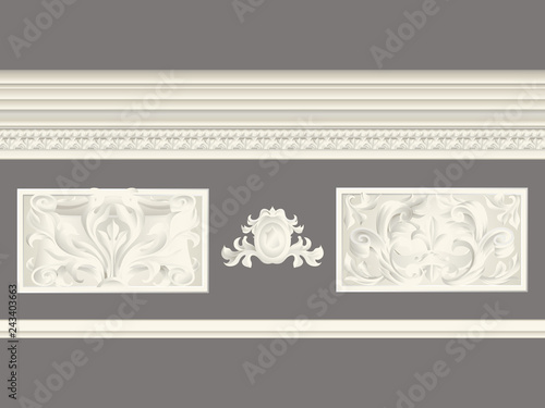 Cream Classic Relief And Cornice Set Isolated Architectural