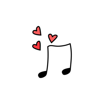Valentine's Day, music note icon. Element of color Valentine's Day signs for mobile concept and web apps. Detailed Valentine's Day, music note icon can be used for web and mobile