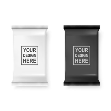 Vector Realistic 3d White and Black Wet Wipes Package Icon Set Closeup Isolated on White Background. Design Template of Napkins, Cosmetic, Food, Product or Other Packaging for Mockup. Top view