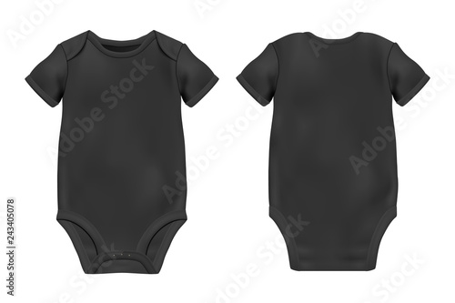 Vector Realistic Black Blank Baby Bodysuit Template 2c8ab098f