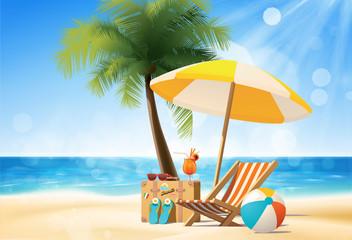 여름 바다 해변 모래사장 소품 오브젝트 벡터 그래픽 일러스트