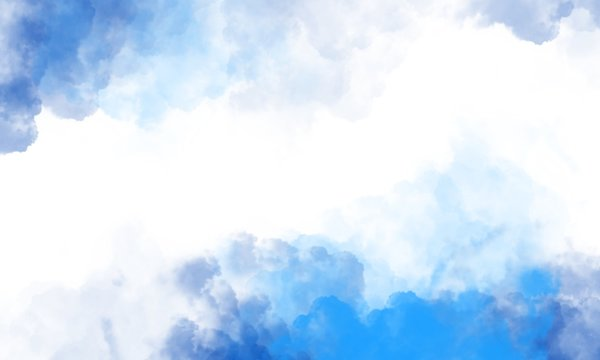 Abstract painting blue sky with white clouds