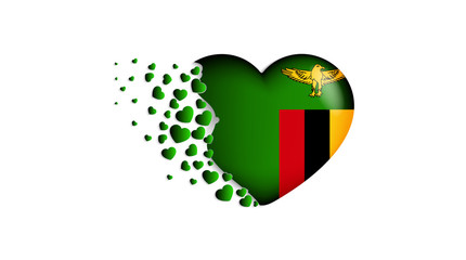 National flag of Zambia in heart illustration. With love to Zambia country. The national flag of Zambia fly out small hearts