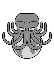 erde angreifen alien riesig groß planet böser oktopus krake kopffüßer kalmar tentakel tintenfisch unterwasser monster comic cartoon clipart lustig design meer wasser tauchen fisch