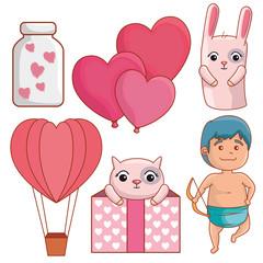 set happy valentines day decoration to celebration