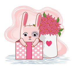 rabbit inside present gift with flowers bouquet