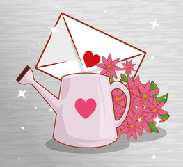 love card with flowers plants and watering can