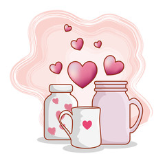vases with cup and hearts to happy valentines day