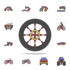 tire of bigfoot car field coloricon. Detailed set of color big foot car icons. Premium graphic design. One of the collection icons for websites, web design, mobile app