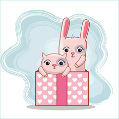 cat and rabbit inside present gift to valentines day