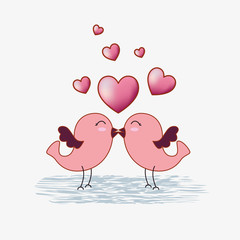 birds couple with hearts to valentines day celebratione