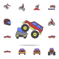 bigfoot car crushes cars field coloricon. Detailed set of color big foot car icons. Premium graphic design. One of the collection icons for websites, web design, mobile app