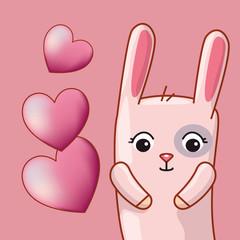 rabbit with hearts to happy valentines day celebration