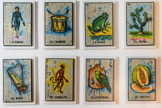 Loteria mexicana,  carta con dibujos tradicionales, diseño mexicano, ingenio, tradicional un juego de mesa para compartir en familia en el tiempo libre