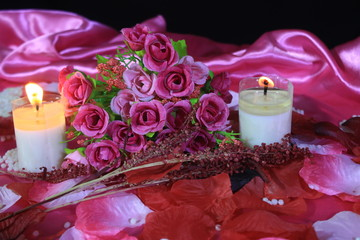 Valentine day with decoration bouquet flower and candle burning. Photoshoot valentine