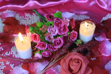 Photoshoot of bouquet, candle bunring and decoration Valentine day