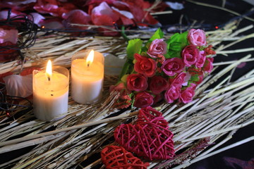 Photoshoot of decoration Valentine with flower, lamp and candle burning