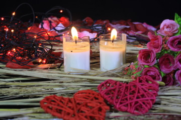 Happy Valentine day with phootoshoot flower, lamp and candle burning
