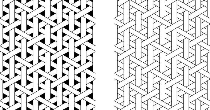 Outline Seamless weave rattan pattern, vector art