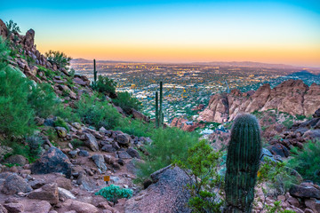 Foto op Aluminium Lavendel Colorful Sunrise on Camelback Mountain in Phoenix, Arizona