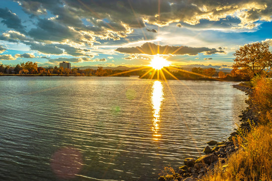 Colorful Sunset at Sloan's Lake in Denver, Colorado