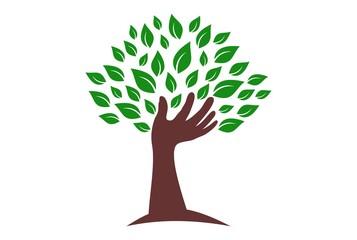 abstract tree hand logo icon