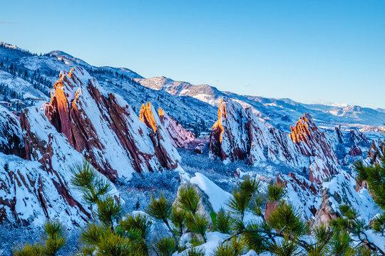 Hiking in the Red Rocks in Winter in Denver, Colorado