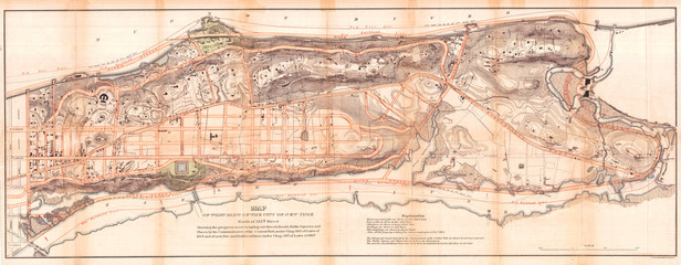 Wall Mural - Old Map of Northern Manhattan, New York City, Harlem, Washington Heights, Inwood, 1868, Knapp